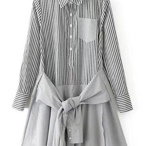 Dresses & Skirts - Contrast Hem Knot Front Vertical Striped Shirt Dre